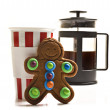 Gingerbread man and coffee — Stock Photo #12112431