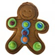 Gingerbread man on white background with space for text - Stock Photo
