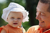 Father and young beautiful blond daughter in panama — Stock Photo