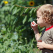 Young cute boy blowing a bubbles on a sunny day — Stock Photo #11864649