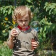 Young cute boy playing with bubbles on a sunny day — Stock Photo