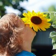 Little cute boy sniffing a sunflower on a sunny day — Foto Stock