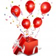 Vector open gift box with balloon - Stock Vector