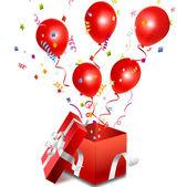 Vector open gift box with balloon — Stock Vector