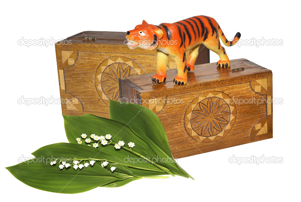 Lilies of the valley and two wooden caskets. — Stock Photo #11322330