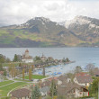 Spiez town with the castle on lake Thun (Jungfrau region, canton — Stock Photo #11012335
