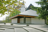 Exterior of modern european church with contemporary architectur — 图库照片