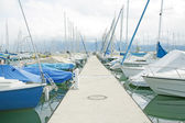 Yachts and boats in the harbor in Ouchy, Switzerland — Stock Photo