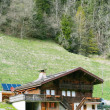 Mountain wooden house in Swiss Alps — Stock Photo