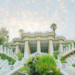 Royalty-Free Stock Photo: Pavilion decorated with mosaic in Park Guell starting the sunset