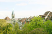 Berne, Switzerland. Beautiful old town. Prominent cathedral towe — Stock Photo