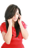 A woman with a headache holding head, isolated on white backgrou — Stock Photo