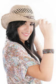 Young lady in a cowboy hat — Stock Photo
