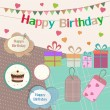 Birthday design elements for scrapbook — Stock Vector