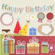 Stock Vector: Birthday design elements for scrapbook