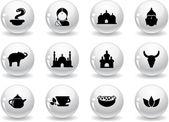 Botones web, iconos de indios — Vector de stock