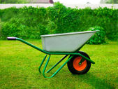 Gardener Green Wheel Barrow — Stock Photo