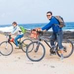Family having a excursion on their bikes — Stock Photo