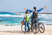 Family having a excursion on their bikes — Stock Photo