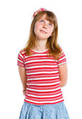 Cute little girl in red clothes — Stock Photo