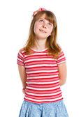 Niedliche kleine Mädchen in roten Kleidern — Stockfoto