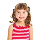 Schattig klein meisje in een rode kleding — Stockfoto
