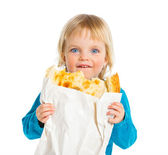 Girl with bread — Stock Photo