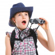 Teen girl with binocular — Stock Photo