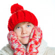 Portrait of young beautiful boy in winter style — Stock Photo