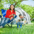 Stock Photo: Couple camping in the great outdoors