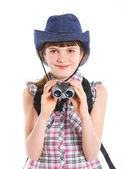 Teen girl with binocular — Stock Photo