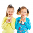 Two girl with milk — Stock Photo #11468963