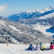 Snowboarders on skiing resort in Austria — Stock Photo #11477654