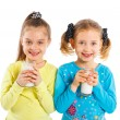 Two girl with milk — Stock Photo #11563162