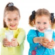 Two girl with milk — Stock Photo