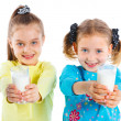 Two girl with milk — Stock Photo #11565987