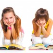 Stock Photo: Funny girls with books.
