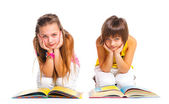 Funny girls with books. — Stock Photo