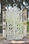 White iron gate — Stock Photo