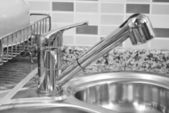 Kitchen sink and tap — Stock Photo