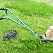 Aging lawn mower on green herb — Stock Photo