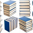 Collage with stacks of books isolated on white - Stock Photo
