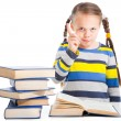 Stock Photo: Girl with books shaking finger on isolated white