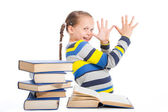 Schoolgirl with books being teased on isolated white — Stock Photo