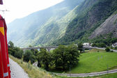 The circle viaduct of Brusio in the Switzerland — Stock Photo
