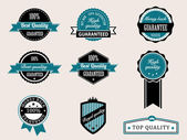 Premium Quality and Guarantee Badges with retro vintage style — Stock Vector