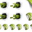 Set of green discount stickers, corners, 3d tags — Stock Vector #11148317