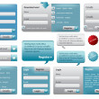 Blue website form set with buttons - Stock Vector