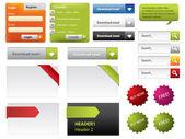 Web ontwerp knoppen en formulieren — Stockvector