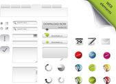 Insignias, formularios, botones y elementos web — Vector de stock